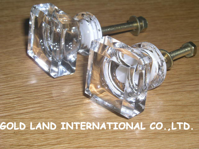 D24mmxH30mm free shipping transparent glass furniture cabinet knobs Clear Pull Handle Cupboard Drawer Door Furniture Knob(China (Mainland))
