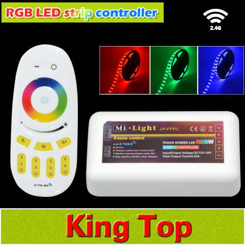 Wholesale Mi Light 2.4G 4-Zone Wireless RF Touch Remote+ LED RGB Dimmable Controller 12-24V 18A For Led Tape DIY Controller 1Set(China (Mainland))