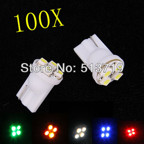 Whole Sale!!! car led auto led w5w 194 4SMD T10 4LED 4 LED smd 3528 1210 Wedge lamp Bulbs Car Side Indicator Light 100pcs/lot(China (Mainland))