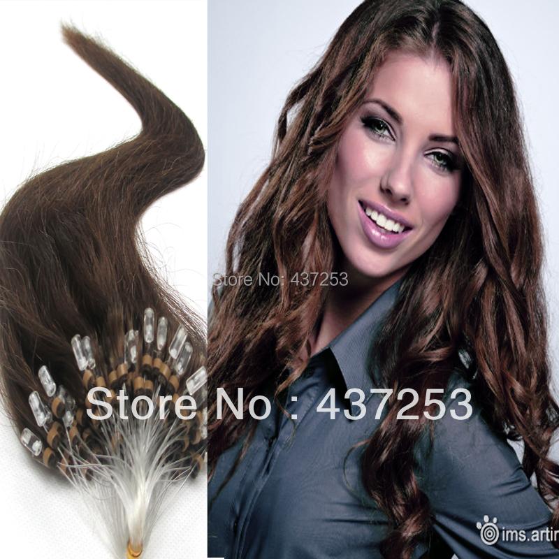 18 inch 20 #4Medium Brown Brazilian Virgin Hair Micro Loop Ring Human Extensions Straight - Fashion&Hair Beauty store