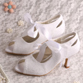 Wedopus Hot Selling White Women Medium Heels Pumps Size 9 Wedding Shoes Bridal