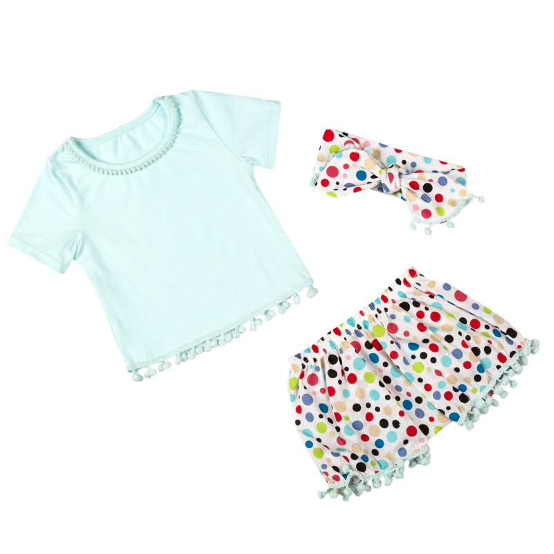 Free Shipping Retail babies newborn cute Pompom pettiset  top and shorts  and headband Baby girls clothing KP-POPS01<br>