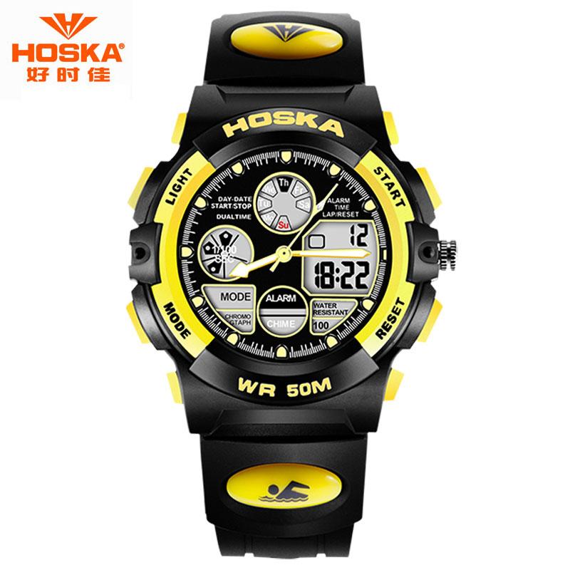 Men Watch Brand HOSKA Fashion Deep Sea Diving Plastic Rubber Band Chill Resistant Waterproof Digital Wristwatch Children  HD003