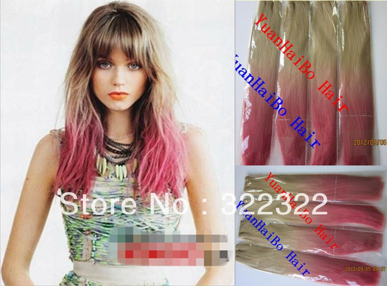 Stock! New Arraival 3pics/lot top quality 2 tone synthetic hair weft, free shipping<br><br>Aliexpress