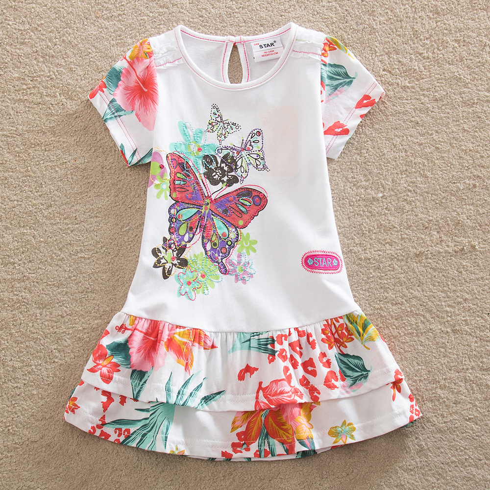 NEAT New baby girl clothes college style girls dresses embroidered wave points stripe bow kids clothes short sleeve dress S66033(China (Mainland))
