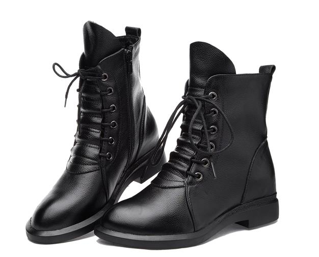 Ladies Black Lace Up Ankle Boots