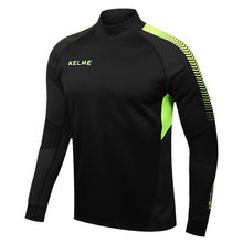 Kelme K089 Men Long Sleeve Thumb Buckle Training Light Board Team Sportswear Football Jersey Black(China (Mainland))