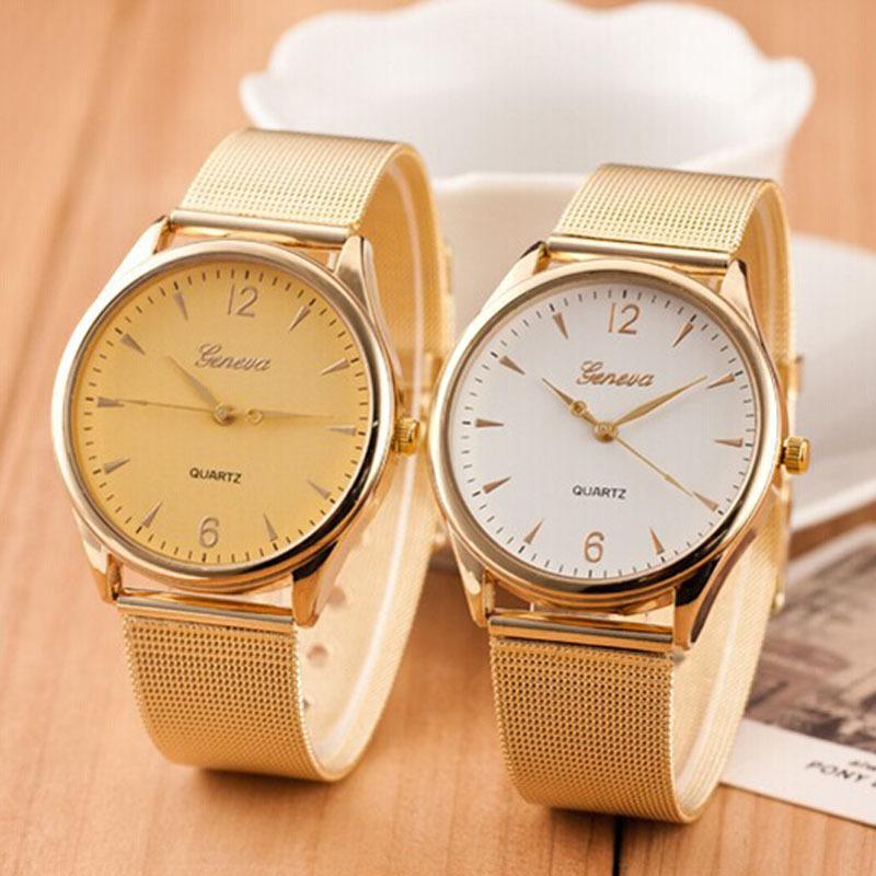 Fashion montre femme 2015 New Watch Women Classic Gold Quartz Stainless Steel Full Steel Wrist Watch(China (Mainland))