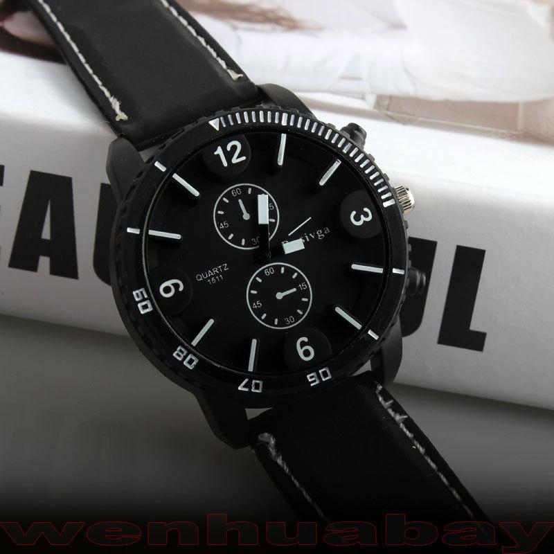Fashion Men Boy Big Round Dial Sport Outdoor Cool Quartz Wrist Watch Analog Hour Time Rubber Black Band Gift Q2480(China (Mainland))