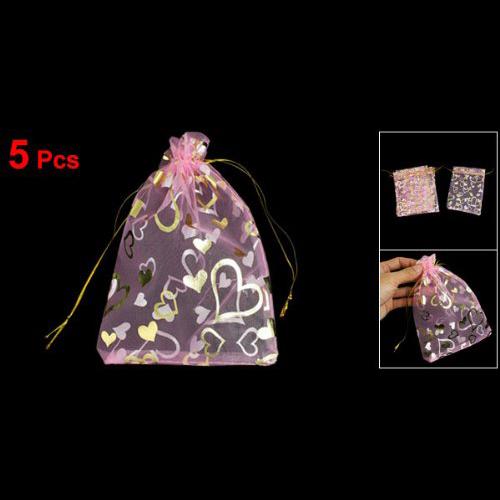 "5Pcs/Lot X 5 Pcs Heart Shape Print Wedding Gift Bag Organza Pouch Light Pink 7.3"" x 5""(China (Mainland))"