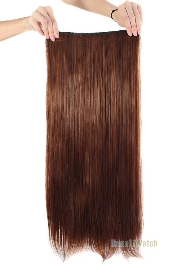 Light Brown Long Straight Clips On Hair Piece Extension (NWG0HE60731-MA2)(China (Mainland))