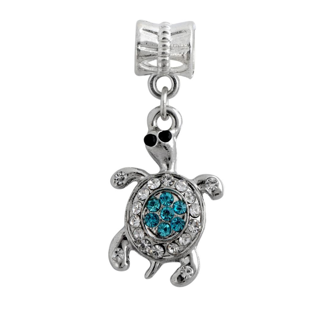 New Women Jewelry Silver Bead Charms European Tortoise full Crystla Pendant Fit Diy Pandora Bracelets Bangles