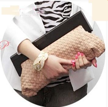 2014 Hot Wholesale High Quality PU Leather Fashion Women Hand-weaved Handbag Wooden Handle Clutch Bag Messenger Bags WQ001(China (Mainland))