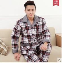 New 2016 Pajamas Men Winter Flannel Thickening Fever Pyjamas Men Cotton-Padded Jacket Lounge Pajama Set Plus Size 3XL(China (Mainland))