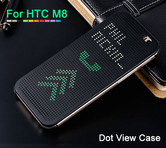Slim Smart Auto Sleep Wake Up Soft Silicone Flip Leather Cover Original Dot View Case Shockproof Holster Case For HTC One M8(China (Mainland))