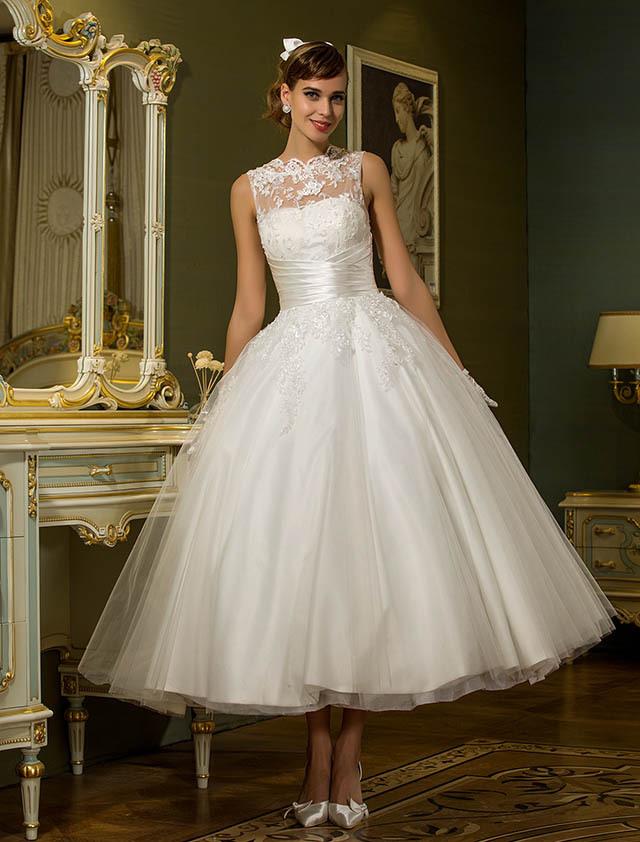 Wedding Dress Line Ankle Length Tulle Jewel Bridal Gown Beading Appliques Plus size Custom-made 2015 Vestido De Novia - Shining Girl store
