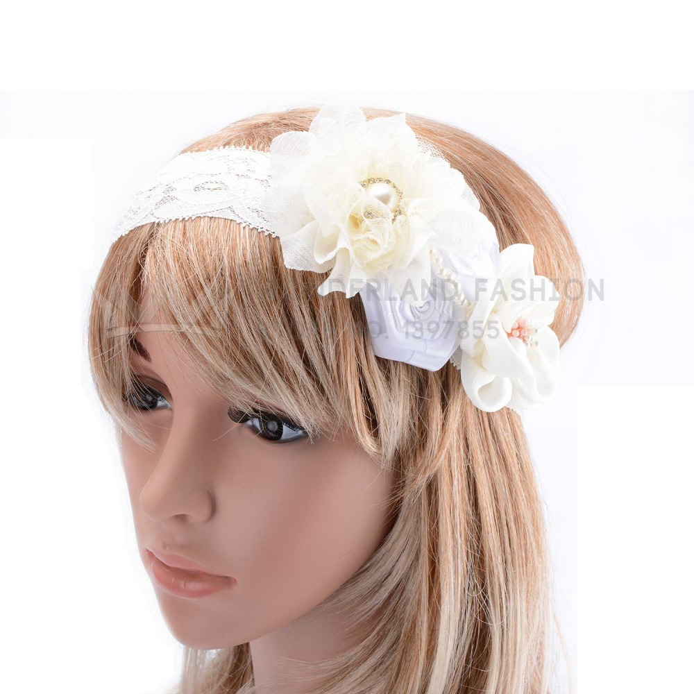 Pearl Inlay Polyester Spandex White & Milk Floral Flowers Lace Headband Fashion Hair Accessories for Women Ladies Girls Children(China (Mainland))