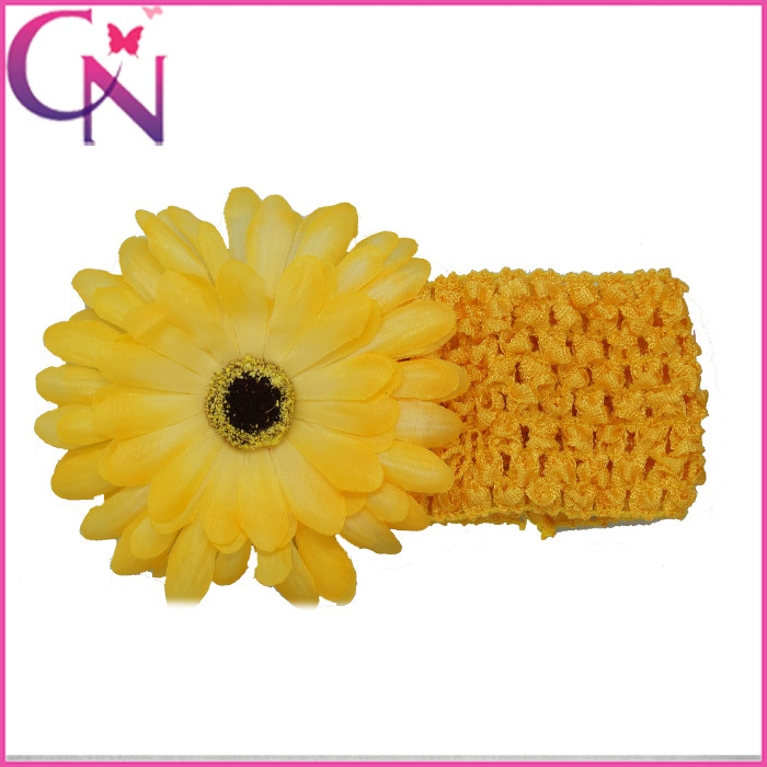 10pcs 9color Available Gerbera Daisy Flower Colorful Waffle Elastic Stretch Headbands For Boutique Kids/Babygirls Min Order $15(China (Mainland))
