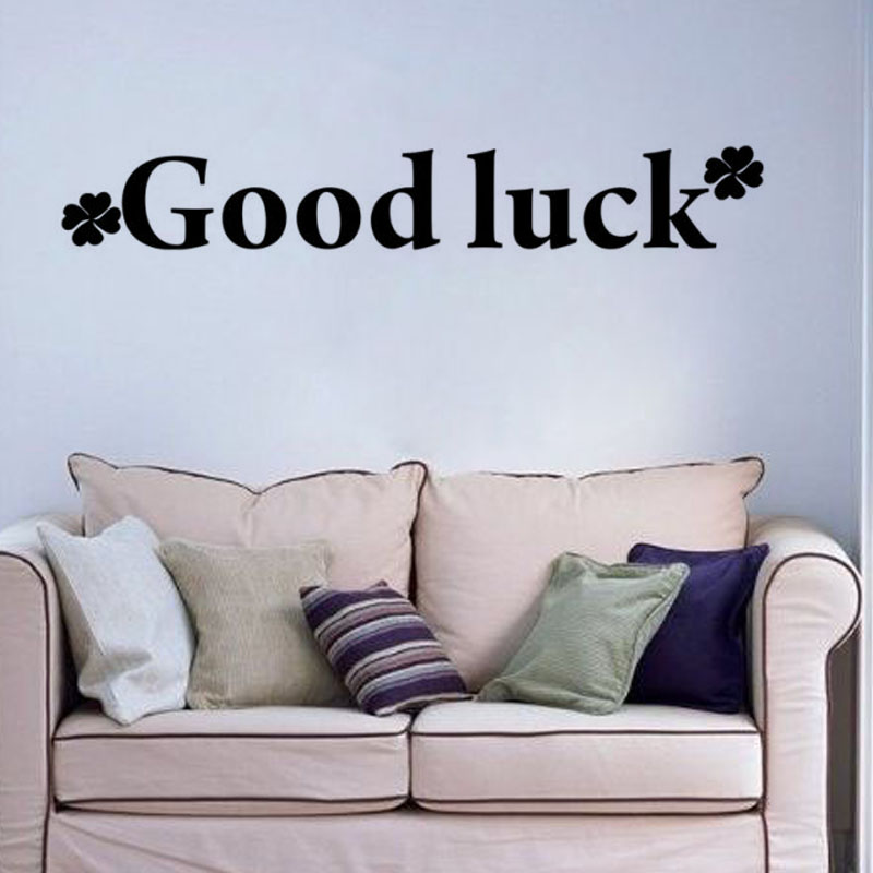 Large Size Wall Decal Vinyl Home Decor Four Leaf Clover Good Luck Wall Stickers Living Room Simple Design