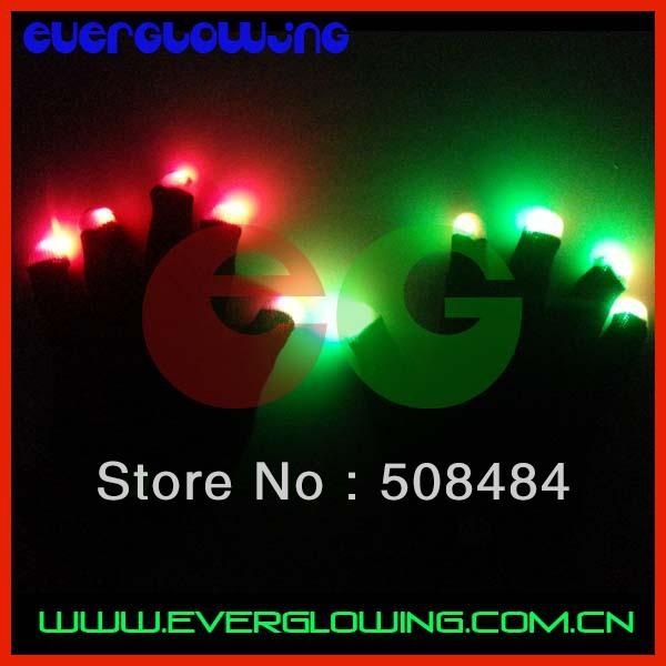 Free Shipping 1000pcs(500pairs)/lot 7 modes black body led gloves Rave Light Finger LED flashing gloves well for Christmas(China (Mainland))