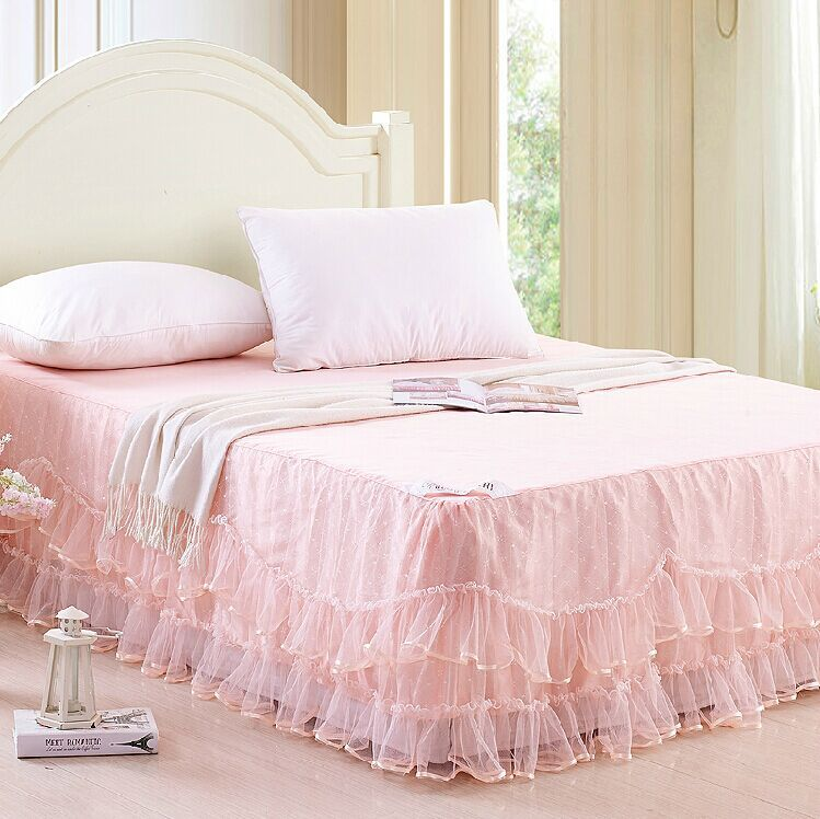 Pink Linen Queen Bed Skirt