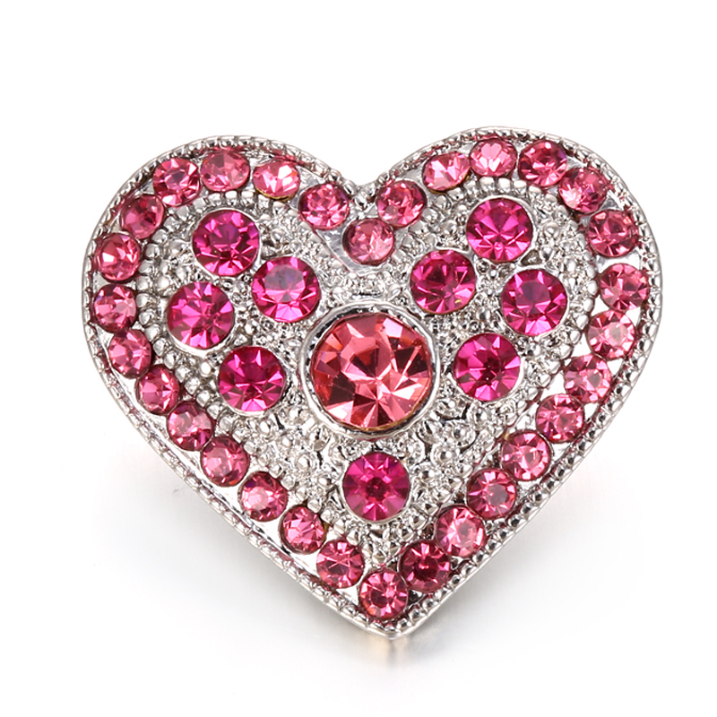 DIY 18MM Snap Buttons Jewelry Pink Crystal Heart Ginger Snaps Charms Fit Women Snap Bracelet Jewelry(China (Mainland))