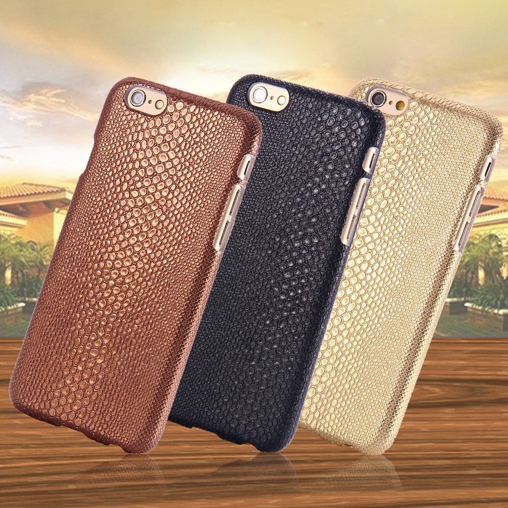 For iPhone 6 Cases Gold Fashion Lizard Skins PU Leather Case For Apple iPhone 6 4.7 inch Slim Hard Shock Proof Phone Cover Capas(China (Mainland))
