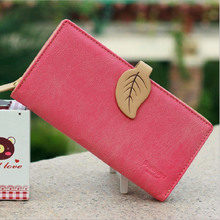 2016 New Fashion Korean Women Long Wallet Matte PU leather Leaves Buckle Clutch Purse Credit Card Holders Classic
