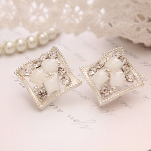 Buy 2016 Popular Hip Hop Bling Crystal Stud Earring Brand Geometric Silver Plated Stud Earrings Women White Free Jewelry for $1.17 in AliExpress store