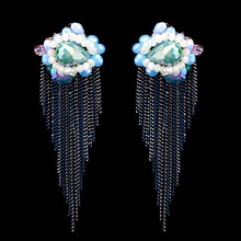 Qiman hand crafted pop pure crystal glass Tassel Earrings wholesale EA-04191(China (Mainland))