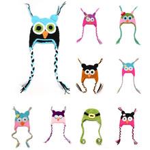 Brand Hot Sale Kids Cap OWL Baby Yarns Hand Knit Baby Hats Beanies 0-3month 100%Handmade Bonnet Photography Prop