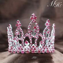 Mini Pink Tiara Circle Round Hair Crown Austrian Rhinestone Crystal Bridal Wedding Prom Party Fashion Jewelry Accessories(China (Mainland))