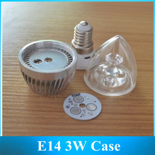 Free shipping 10PCS DIY E14 Screw LED Crystal Candle Light Bulb \ 3*1 w Light Bulb Shell Suite Parts(China (Mainland))