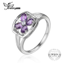 Buy JewelryPalace Flower 0.6ct Oval Natural Purple Amethyst Ring 925 Sterling Silver Genuine Gemstone Jewelry New Fashion Party Ring for $18.19 in AliExpress store