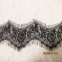 9Yards/ lot Eyelash Lace 7cm DIY Decorative High Quality Soft Off black and white Nylon Eyelash Lace Trim Wedding Dress Fabric(China (Mainland))