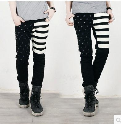 free shipping 2015 slim men jeans American Flag print Skinny Pencil jeans slim fashion korean jeans black stripe stars(China (Mainland))