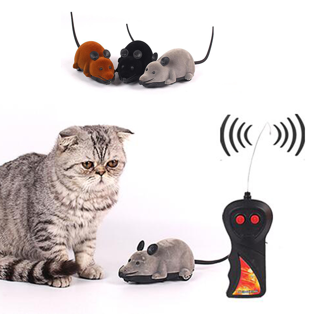 Latest styles Funny Cat Dog Toys Remote Control Simulation Mouse Kids Toys Ears Random Color(China (Mainland))