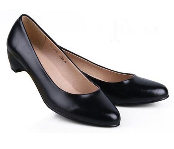 Women Genuine Leather Black Work Shoes Female Single Shoe Cowhide Wedges Pumps<br><br>Aliexpress