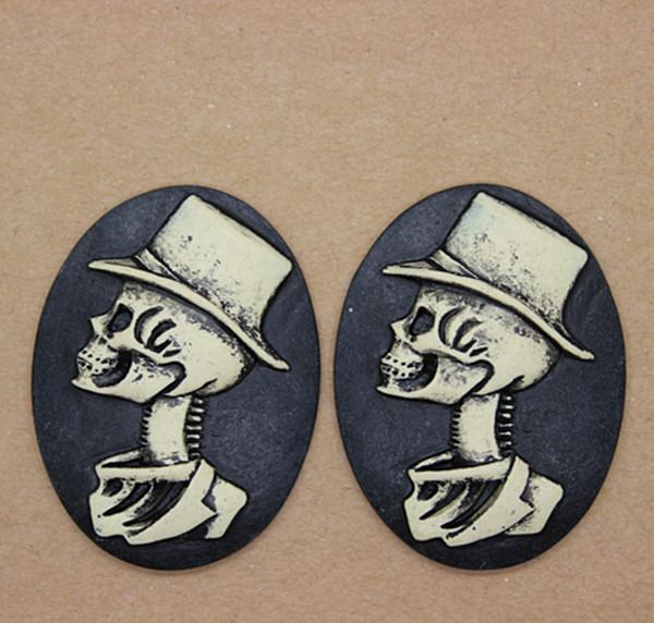 free shipping! wholesale 50pcs/lot 30*40mm antique resin gentleman skull cameo flat back cabochon(China (Mainland))