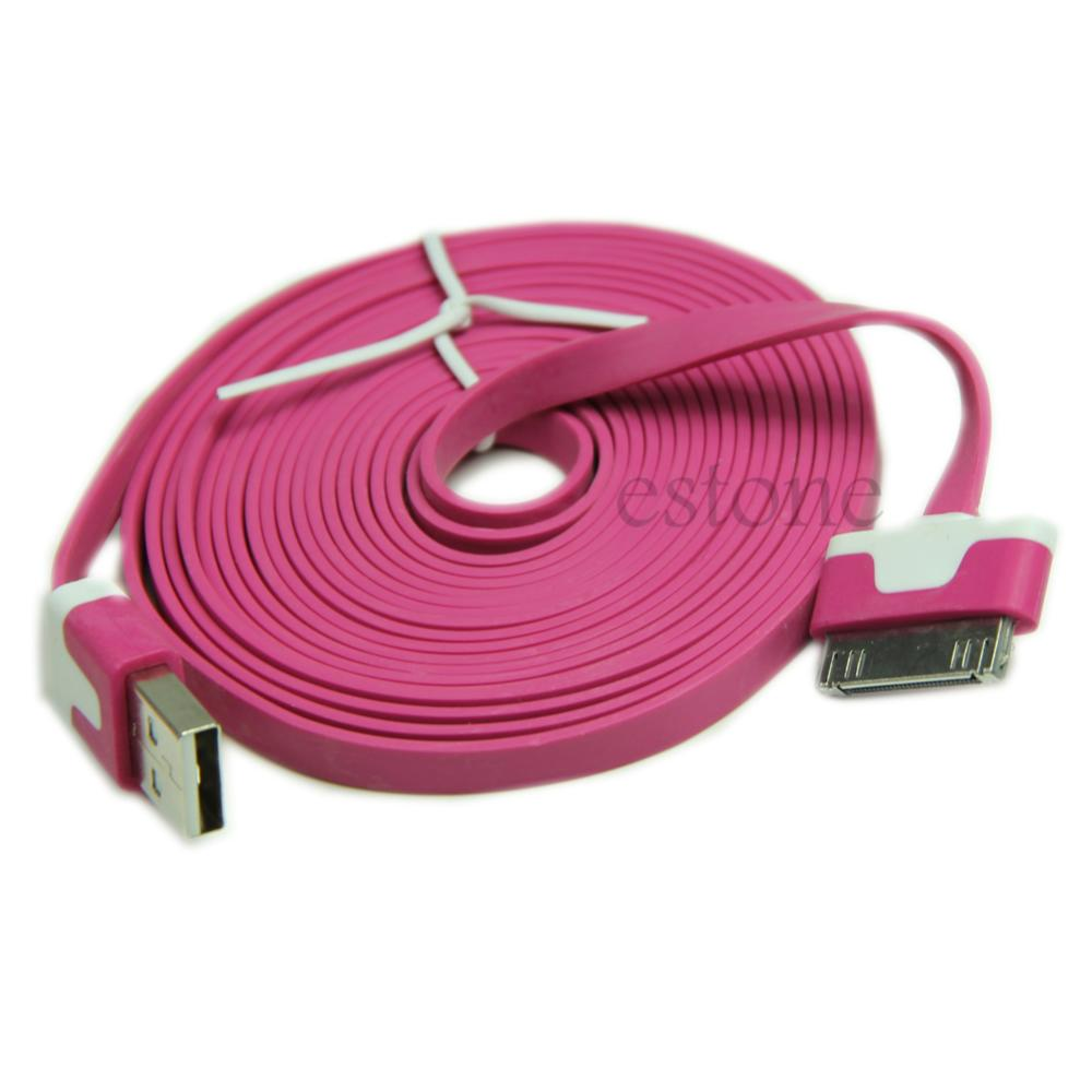 "Y92-""3m Flat Charging Cord USB Data Sync Cable For Apple iPhone 4 4S 3GS 3G iPod Nano Pink/Red/Orange(China (Mainland))"