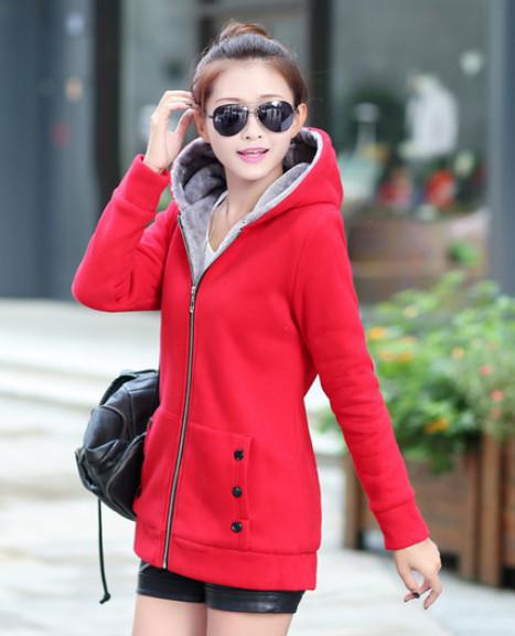 Women'S Plus Size Jacket Design Fall Fashion Wild Plus Velvet Hooded Cardigan Sweater Long Section Of Zipper M-XXXL A26(China (Mainland))