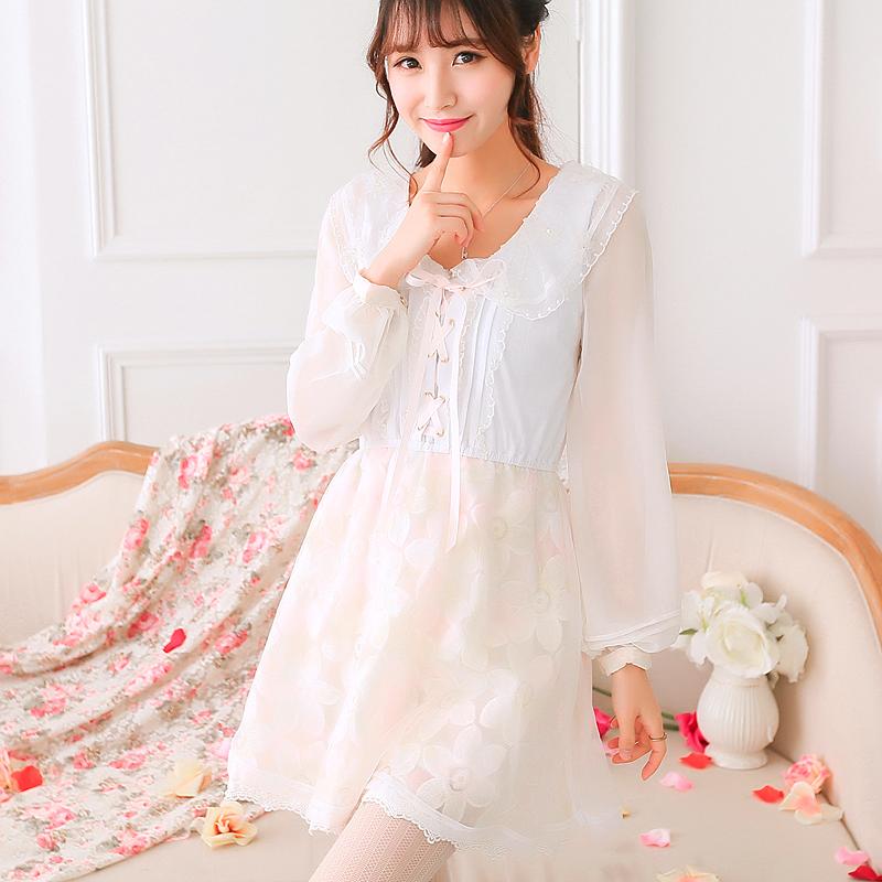 Princess sweet lolita dress Uncle Flower peter pan collar knit stitching embroidery big net yarn short dress dress UF64Одежда и ак�е��уары<br><br><br>Aliexpress