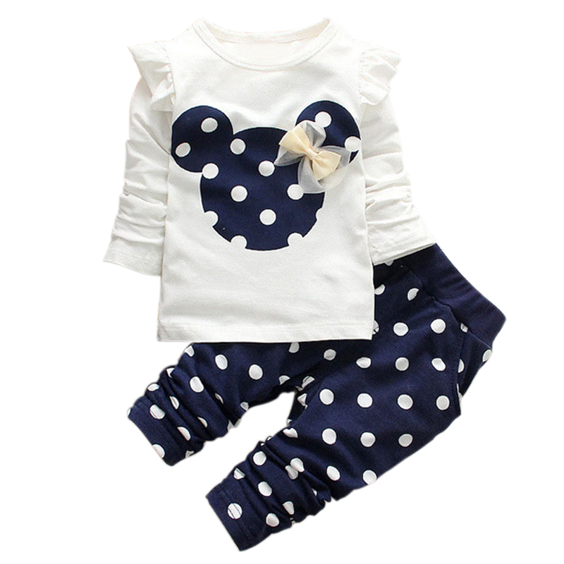 2015 New kids clothes girl baby long rabbit sleeve cotton Minnie casual suits baby clothing retail children suits(China (Mainland))