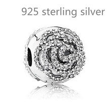 100% 925 sterling silver rose silver clip with cubic zirconia safety stopper european charm bead fit pandora Charm Bracelet(China (Mainland))