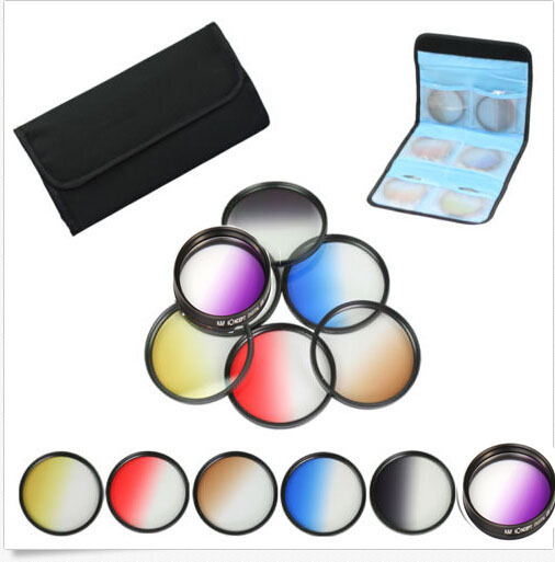55mm 6pcs Graduated Grey+blue+Orange+brown+yellow+red Color ND Neutral Density Filter Kit case For canon nikon sony 55 mm lens