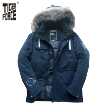 TIGER FORCE 2016 New Men Padded Parka Brand Winter Cotton Coat Jacket Thick Parkas With Raccoon Fur Collar Free Shipping 71400F(China (Mainland))