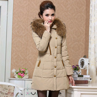 The new winter jacket 2015 authentic women's down jacket  women long skinny 90% white duck down jackets thickening down coat