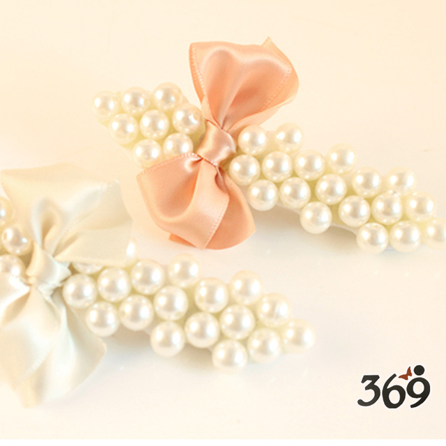 The latest fashion delicate colorful pearl ribbon bow hair clip for women girl gift