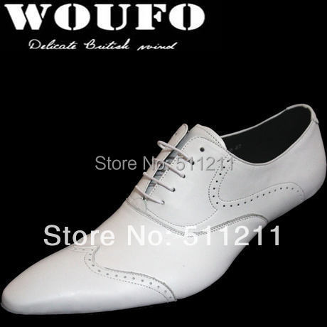100% Brand New fashion men genuine leather shoes european version pointed toe formal business shoes wedding shoes men white(China (Mainland))