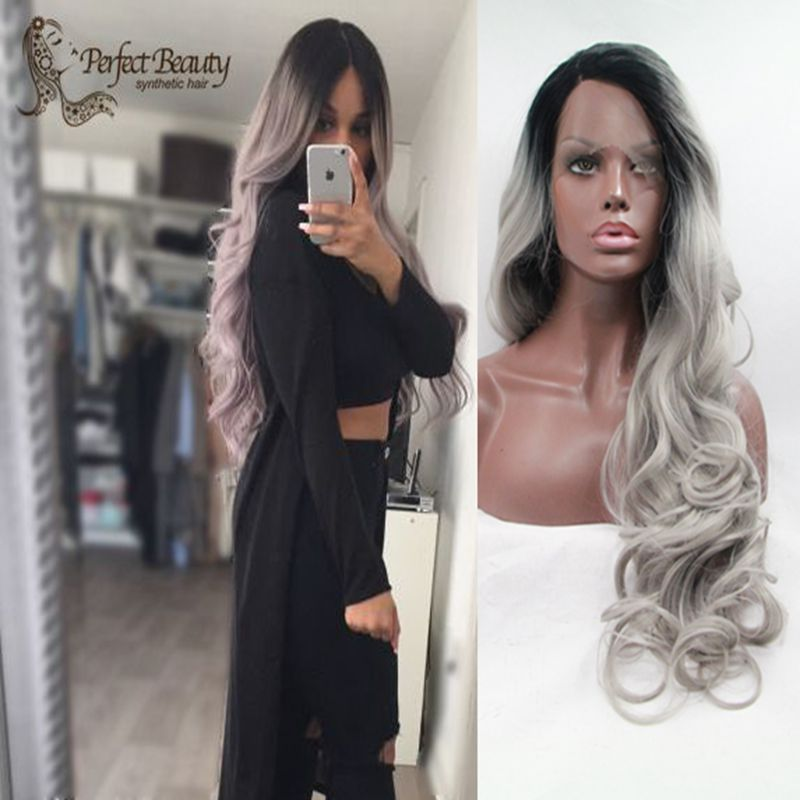 grey black ombre wig